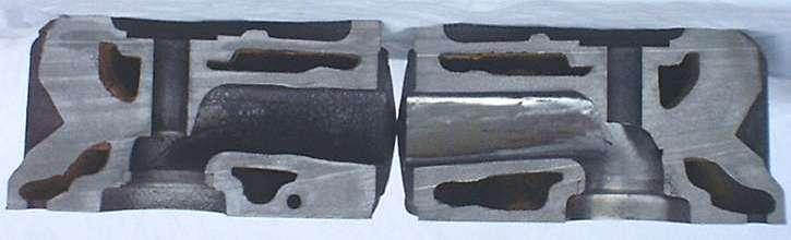 Ported cylinder head cutaway
